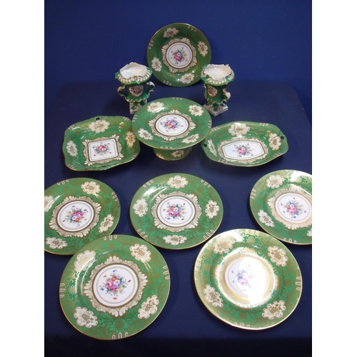 10a - Crown Staffordshire green and gilt floral pattern part tea service comprising of comport, soup, two ...