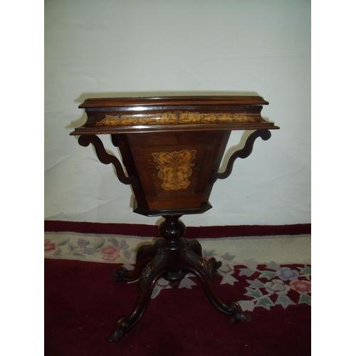 382 - 19th C rosewood inlaid sewing cabinet with hinged rectangular lift-up top revealing fitted interior,...
