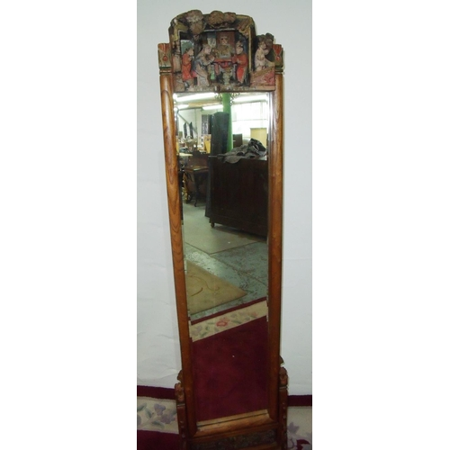 383 - Unusual carved Chinese hardwood cheval mirror, the top carved panel depicting various figures with p...