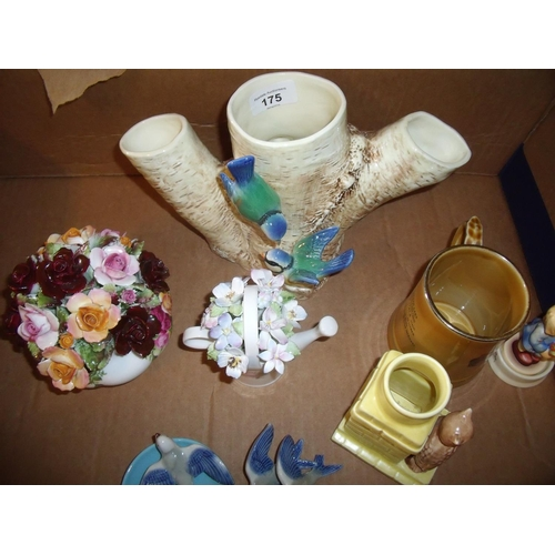 175 - Selection of Sylvac vases, Hummel figure, Royal Albert Country Roses, posy vase etc...