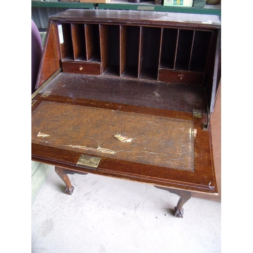 282 - Mahogany three drawer bureau on ball and claw feet, with fitted interior and leather writing slope (...