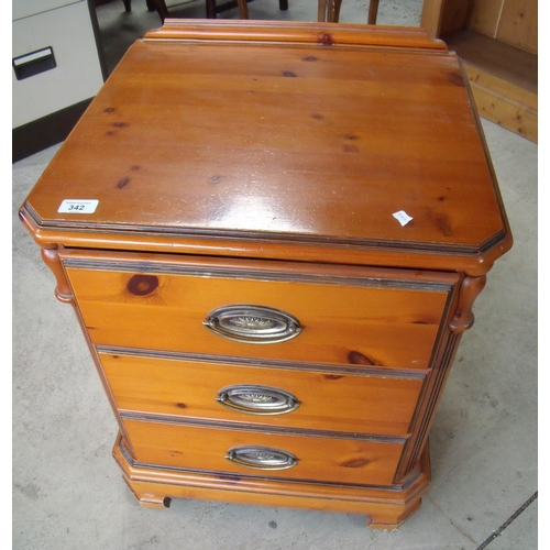 342 - Chateau pine three drawer bedside chest (width 51cm)...