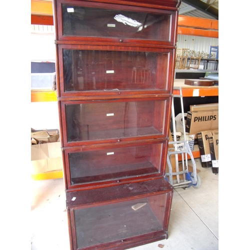 387 - Globe-Wernicke style five height mahogany bookcase with deep base section...