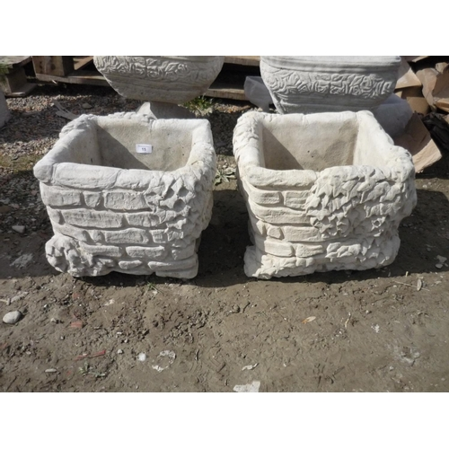 15 - Large square brick planter festooned with ivy (2)...