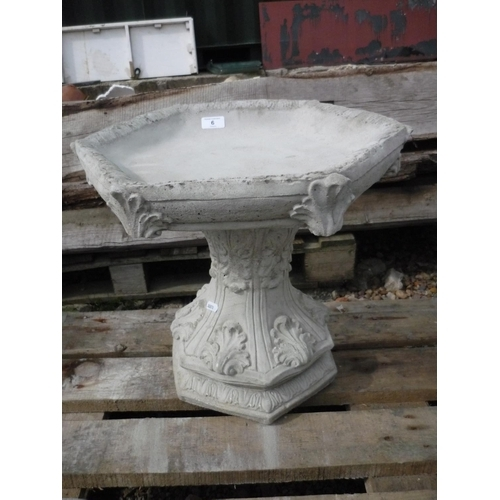 6 - Gothic bird bath with hexagonal top...