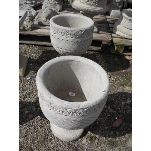 14 - Mayan urn circular planter decorated with Aztec design on circular base (2)...
