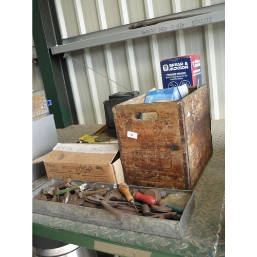 37 - Variety of boxes containing some tools, screws and nuts of various sizes also a Spear & Jackson pres...