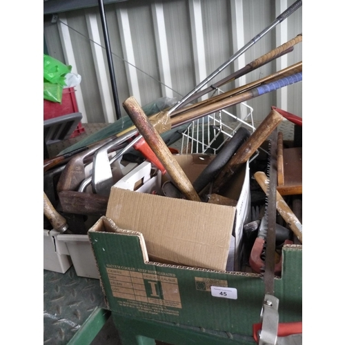 45 - Toolboxes containing various tools including mallets, saws, hammers, a set of golf clubs and a Bosch...