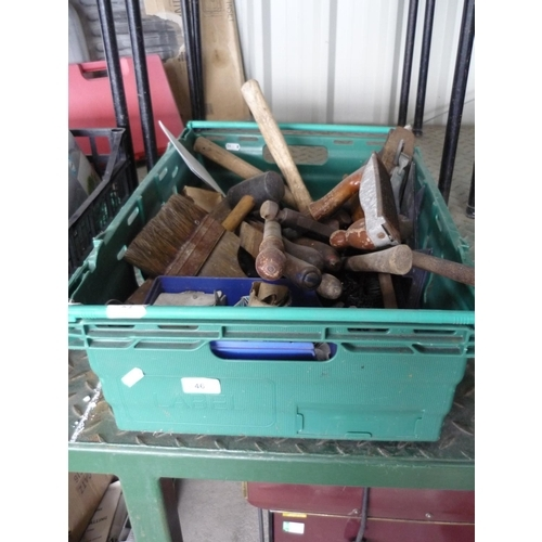 46 - Box containing various tools including hammers, a Stanley plane, screws, brushes and files...
