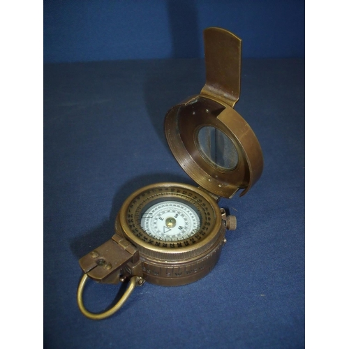4 - Brass cased military style marching compass...