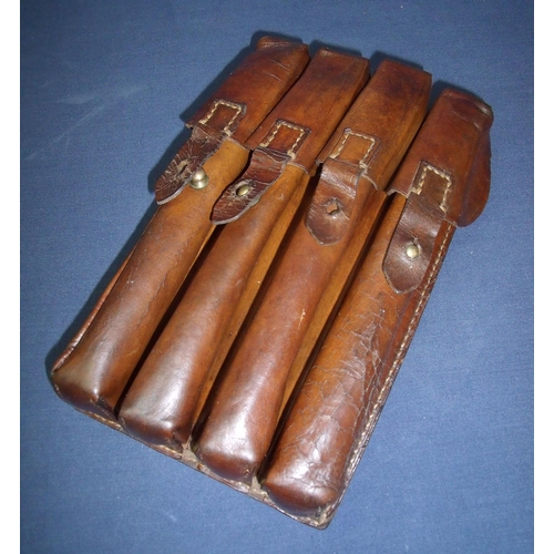 5 - Military issue leather four sectional magazine pouch...