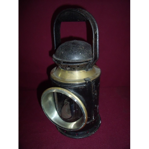 9 - Railway hand lamp with brass mounts and coloured filters...