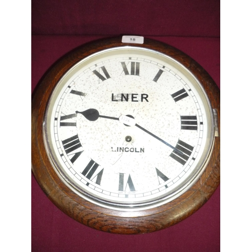 22 - Oak case wall clock the dial marked LNER Lincoln (possibly later added)...