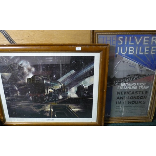 27 - Large framed and mounted railway print 'Pacific at Rest' by Chamberlain (94cm x 75cm) and a Silver J...