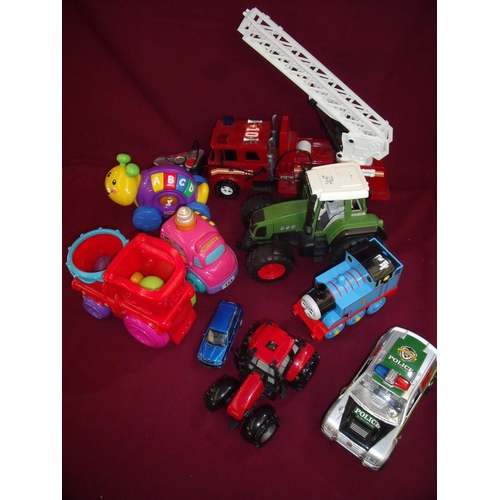 162 - Selection of various assorted toys including Thomas the Tank Engine, tractors, fire engine toy tract...