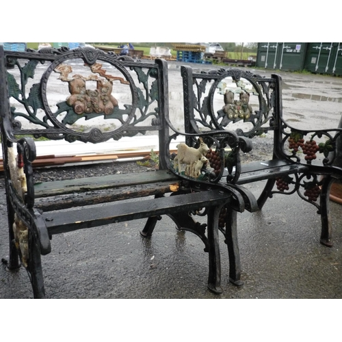 6 - Two children's garden benches with teddy bears, farm animals and fruit on...