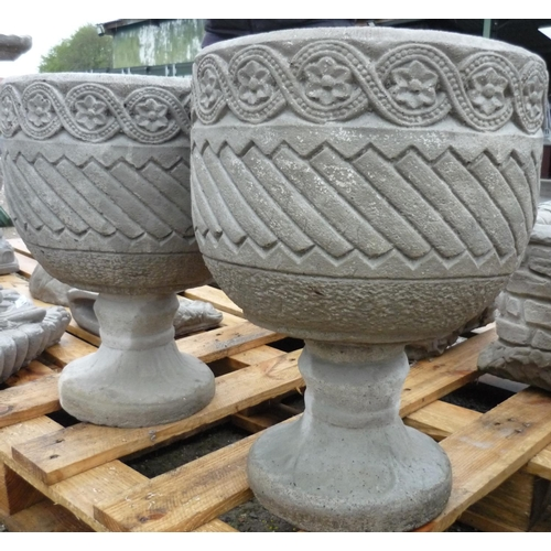 87 - Mayan urn circular planter decorated with Aztec design on circular base (2)...
