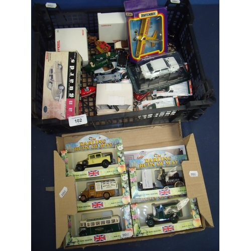 102 - Boxed Vanguard Saab 96 Saloon, selection of various matchbox and other vehicles, two boxed Tonka air...