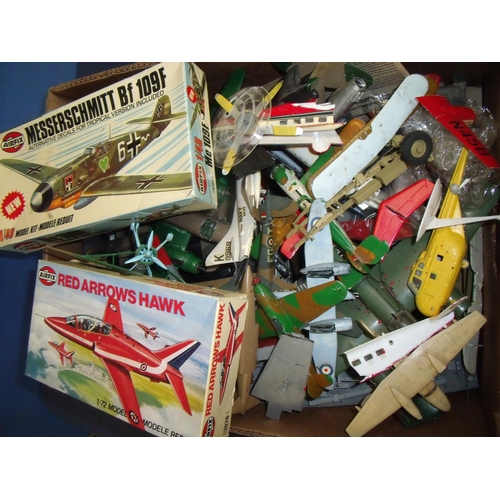 106 - Selection of Airfix aircraft models in boxes and a large selection of made and part Airfix aircraft ...