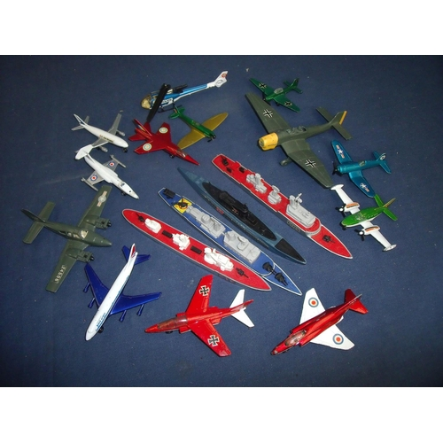 107 - Collection of Matchbox Sea King Battleships and Dinky and other diecast aircraft (QTY)...