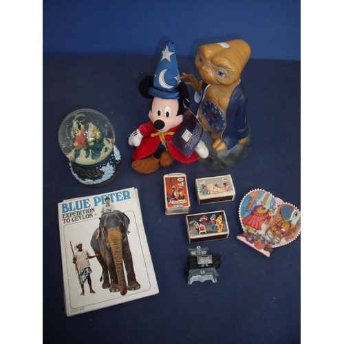 110 - Wizard Mickey Mouse, ET desk clock, Mickey Mouse snowglobe, various other collectables and Blue Pete...