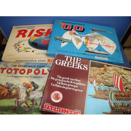 119 - Four boxed vintage games including Risk, Go, Totopoly and The Greeks (4)...