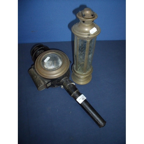 12 - Unusual vintage japed metal candle mounted carriage lamp with bullseye glass lens, and another lante...