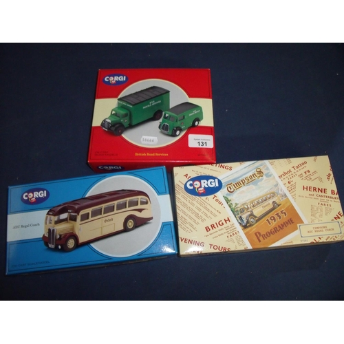 131 - Three boxed Corgi sets including British Road Services 97200, Timpsons AEC Regal Coach 97181 and Oxf...