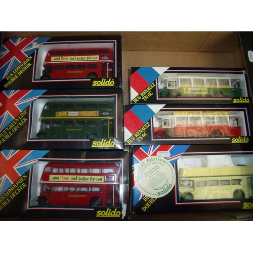 134 - Six boxed Solido diecast buses including three double deckers, one open top and two Renault TN6Cs (6...