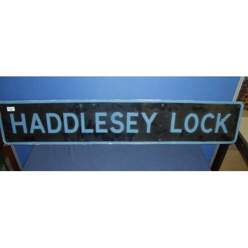 14 - Painted aluminium sign Haddlesey Lock (122cm x 23cm)...