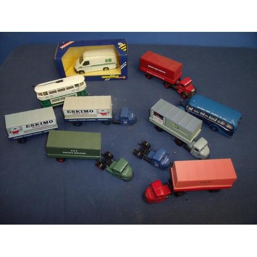 158 - Selection of various diecast vehicles including boxed Corgi Unichem Ford Transit van, Corgi Bedford ...