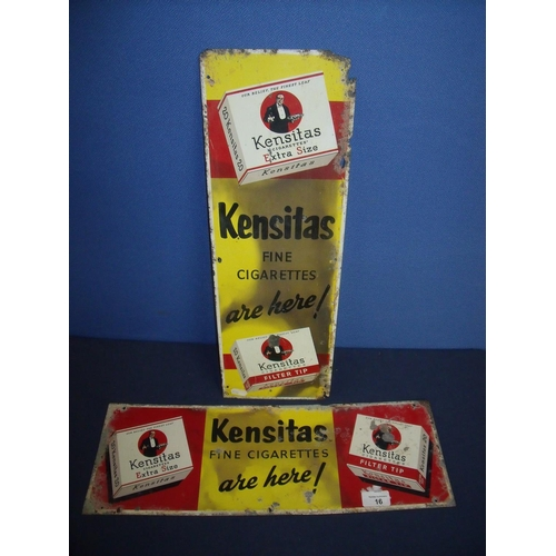 16 - Two aluminium advertising signs for Kemsitas Cigarettes (17cm x 51cm)...