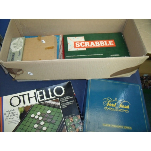 163 - Box containing a quantity of various vintage games including Chess, Dominos, Othello, Trivial Pursui...