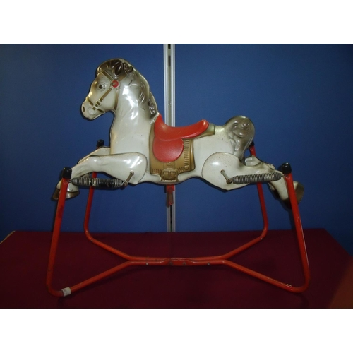 164 - Mobo style tin plate sprung horse...