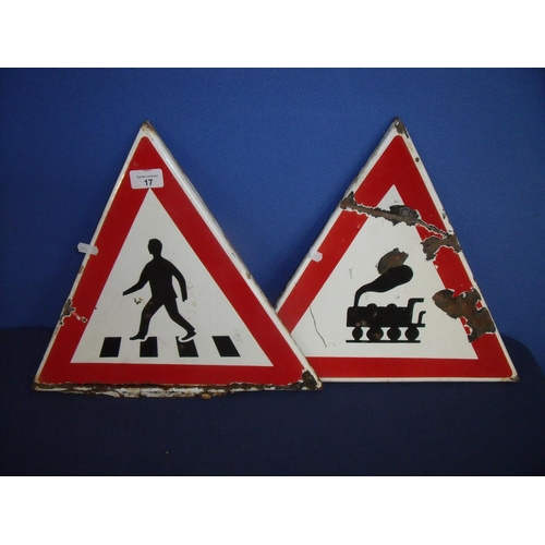 17 - Two enamel triangular warning signs for 'Pedestrian Crossing' and 'Railway'...