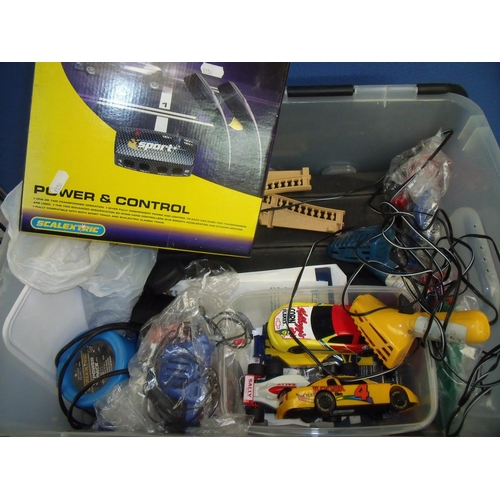 182 - Box containing a large quantity of Scalextric items including track, controllers, various assorted c...
