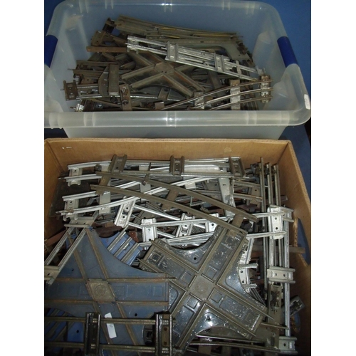 183 - Large quantity of O gauge track including 2 and 3 rail crossings, straights, curves etc (two boxes)...