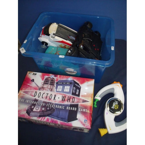 185 - Boxed Dr Who board game and various toys including Bop-It, large scale cars including the Mystery Ma...