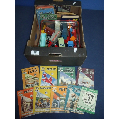 186 - Selection of various Matchbox goods vehicles, haulage wagons etc, and a collection of Eye Spy books ...