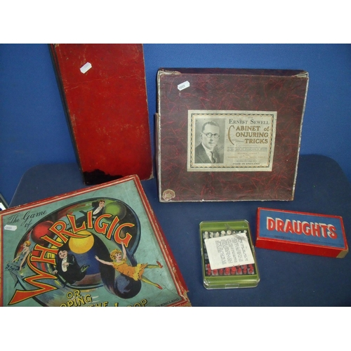 191 - Selection of various vintage board games including Ernest Sewell, cabinet of conjuring tricks, and b...