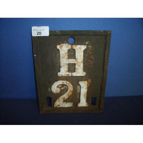 20 - Cast metal rectangular H21 sign (18cm x 22.5cm)...