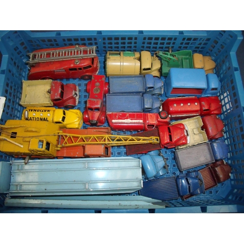 205 - Tray containing a quantity of vintage Dinky toys, mostly trucks and wagons including Dinky toys Aust...