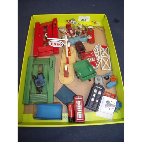 208 - Selection of various assorted Dinky diecast accessories including motorbike and sidecar, telephone b...