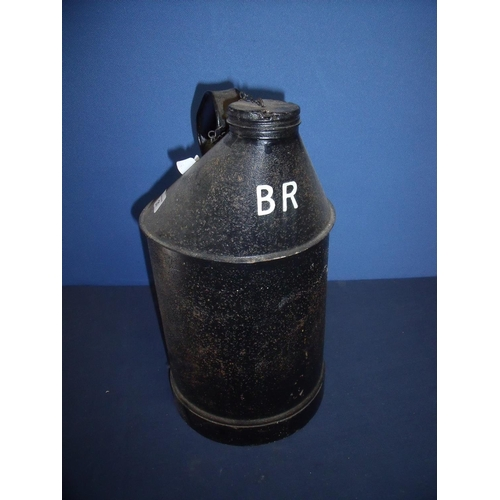 21 - Large British Railways fuel/oil type can with screw off top and carry handle marked BR (39cm high)...