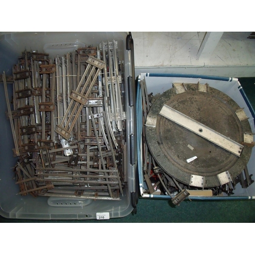210 - Extremely large quantity of O gauge track, turntable etc in two boxes...
