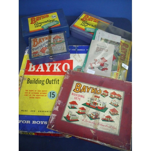 213 - Bayko building outfit No 15, Bayko box converting set 1x, similar 2x and another 0x, also a Bayko bu...