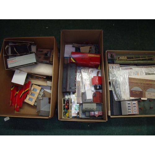 214 - Extremely large quantity of mostly card Hornby building sceneries and landscape sets, contained in t...