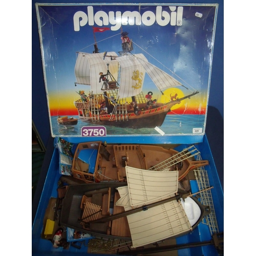 229 - Boxed Playmobil Pirate Ship No 3750...