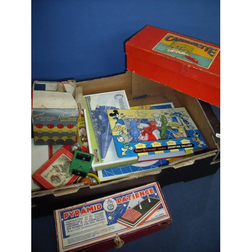 235 - Box containing a quantity of various vintage toys and games including Pyramid Patience, Word Making,...