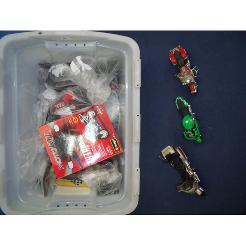 241 - Box of various collectable motorbike models including Uburango...